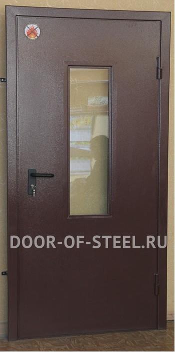 дверь металлическая двухлистовая с застекленным смотровым окошком