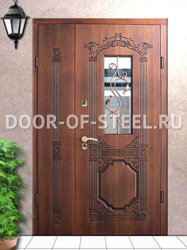 клинские металлические двери со стеклом и ковкой