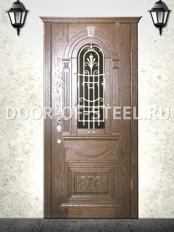 входная дверь из ковки и дерева